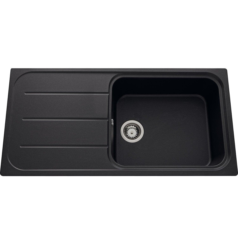 evier encastrer quartz et r sine noir fugie 1 grand bac. Black Bedroom Furniture Sets. Home Design Ideas