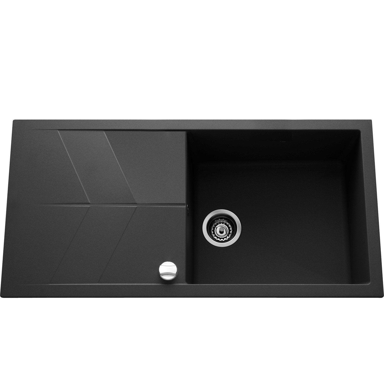 evier encastrer quartz et r sine noir calypso 1 grand bac avec gouttoir leroy merlin. Black Bedroom Furniture Sets. Home Design Ideas