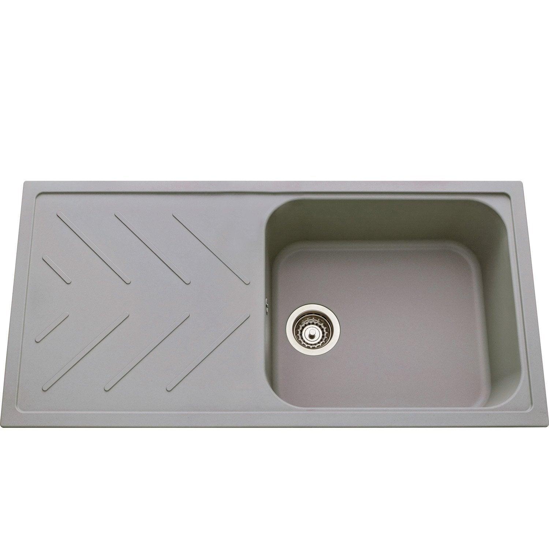 evier encastrer quartz et r sine gris m tallis apia. Black Bedroom Furniture Sets. Home Design Ideas