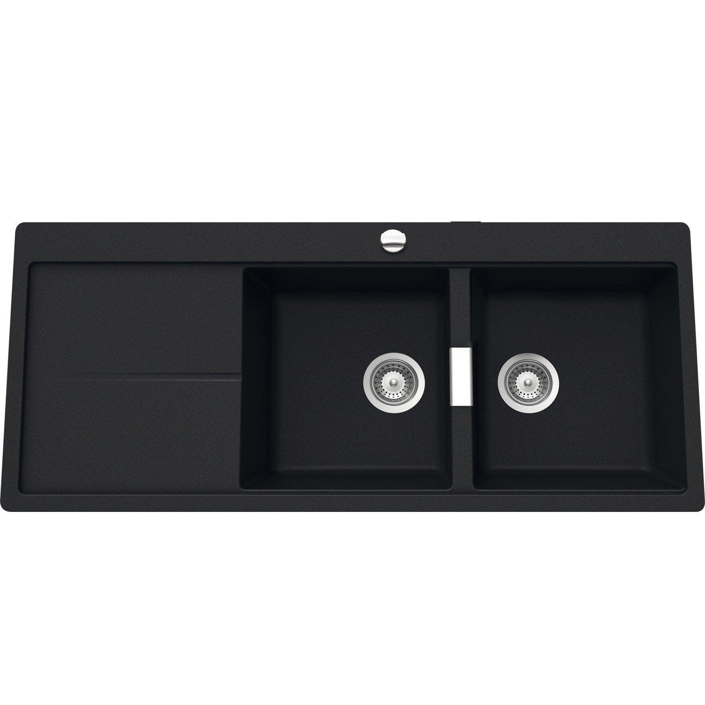 evier encastrer quartz et r sine noir arabesque 2 bacs avec gouttoir leroy merlin. Black Bedroom Furniture Sets. Home Design Ideas