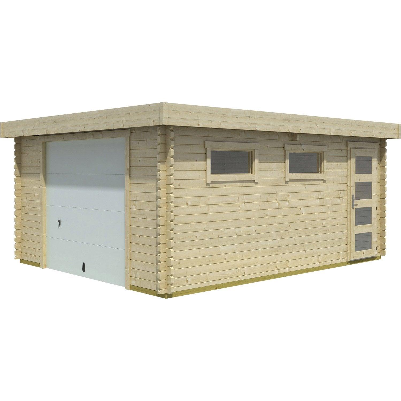 Garage En Bois Pas Cher : Garage en bois Narva, 19.15 m? Leroy Merlin