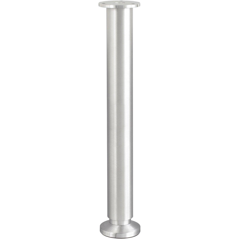 pied de lit sommier cylindrique r glable aluminium bross gris de 35 37 cm leroy merlin. Black Bedroom Furniture Sets. Home Design Ideas