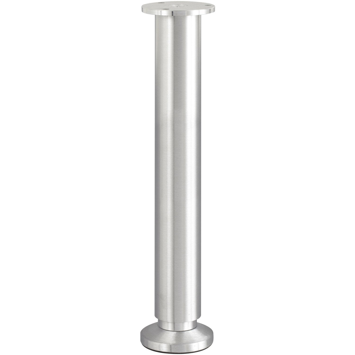 Pied de lit sommier cylindrique r glable en aluminium bross gris 30cmx38mm - Leroy merlin pied de table ...