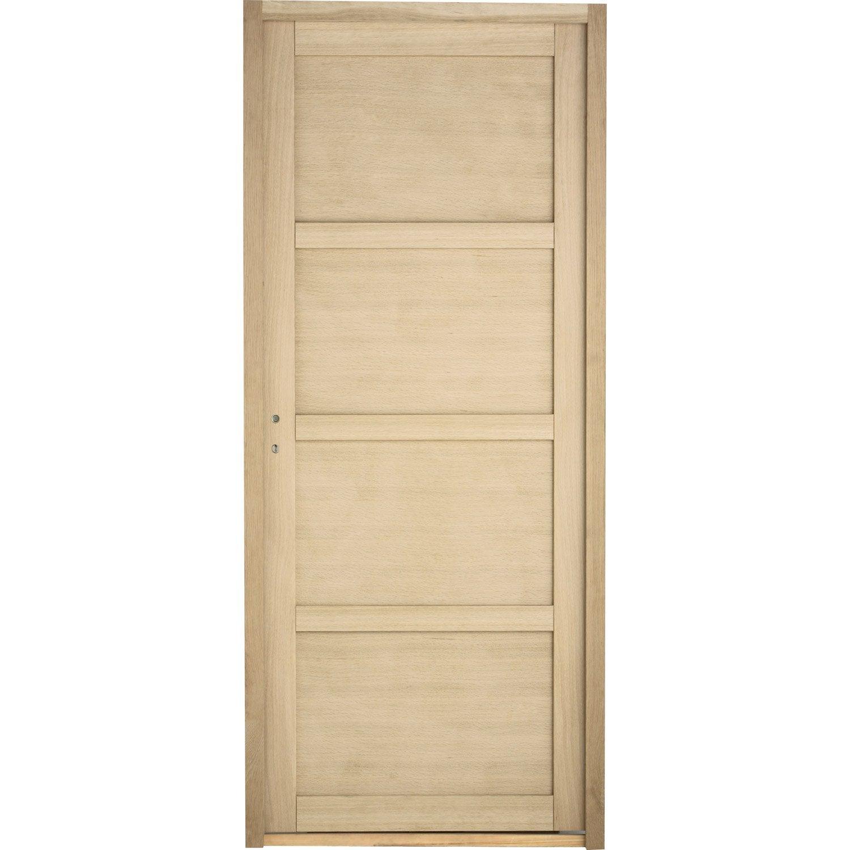 Bloc porte paris pleine poussant droit 4 panneaux bois - Leroy merlin panneaux bois ...