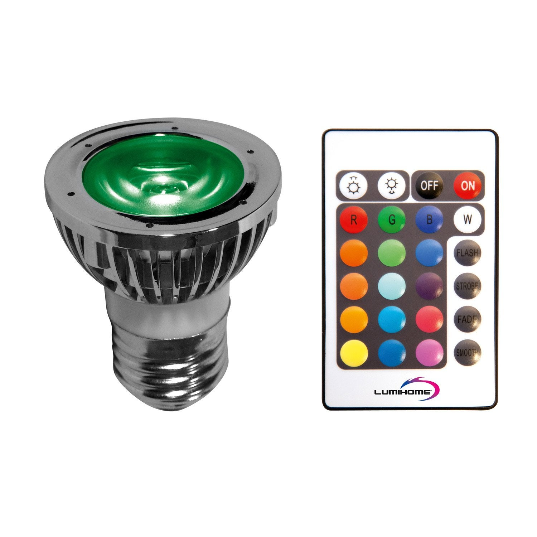 ampoule r flecteur led changement de couleurs avec t l commande 5w e27 50 leroy merlin. Black Bedroom Furniture Sets. Home Design Ideas