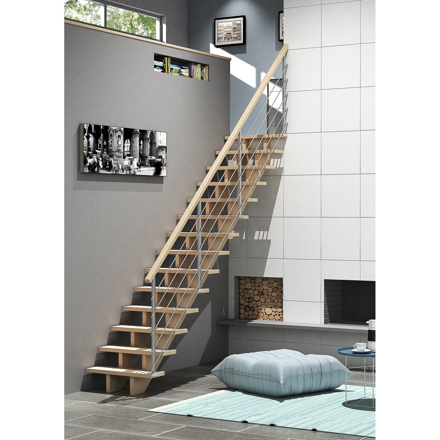 escalier droit allure tube structure bois marche bois. Black Bedroom Furniture Sets. Home Design Ideas