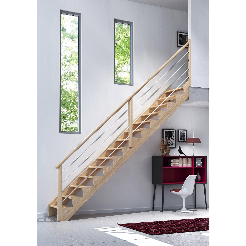Escalier droit biaiz cable marches structure bois massif ch ne brut leroy - Bois de coffrage leroy merlin ...