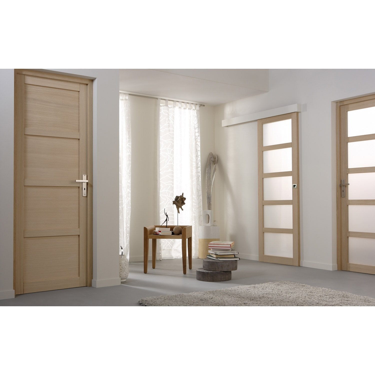 Ensemble porte coulissante paris plaqu ch ne avec le rail jazz 2 en aluminium leroy merlin - Leroy merlin paris 13 ...