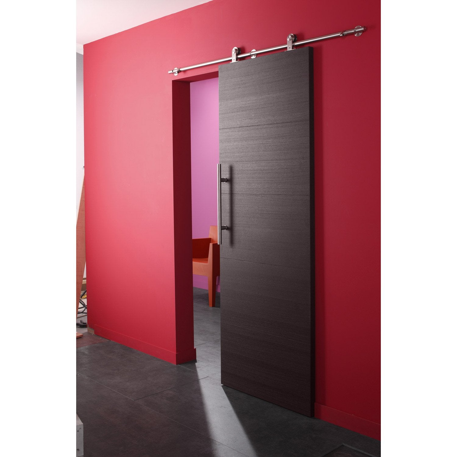 Ensemble porte coulissante tokyo fr ne avec le rail techno for Porte coulissante interieur leroy merlin