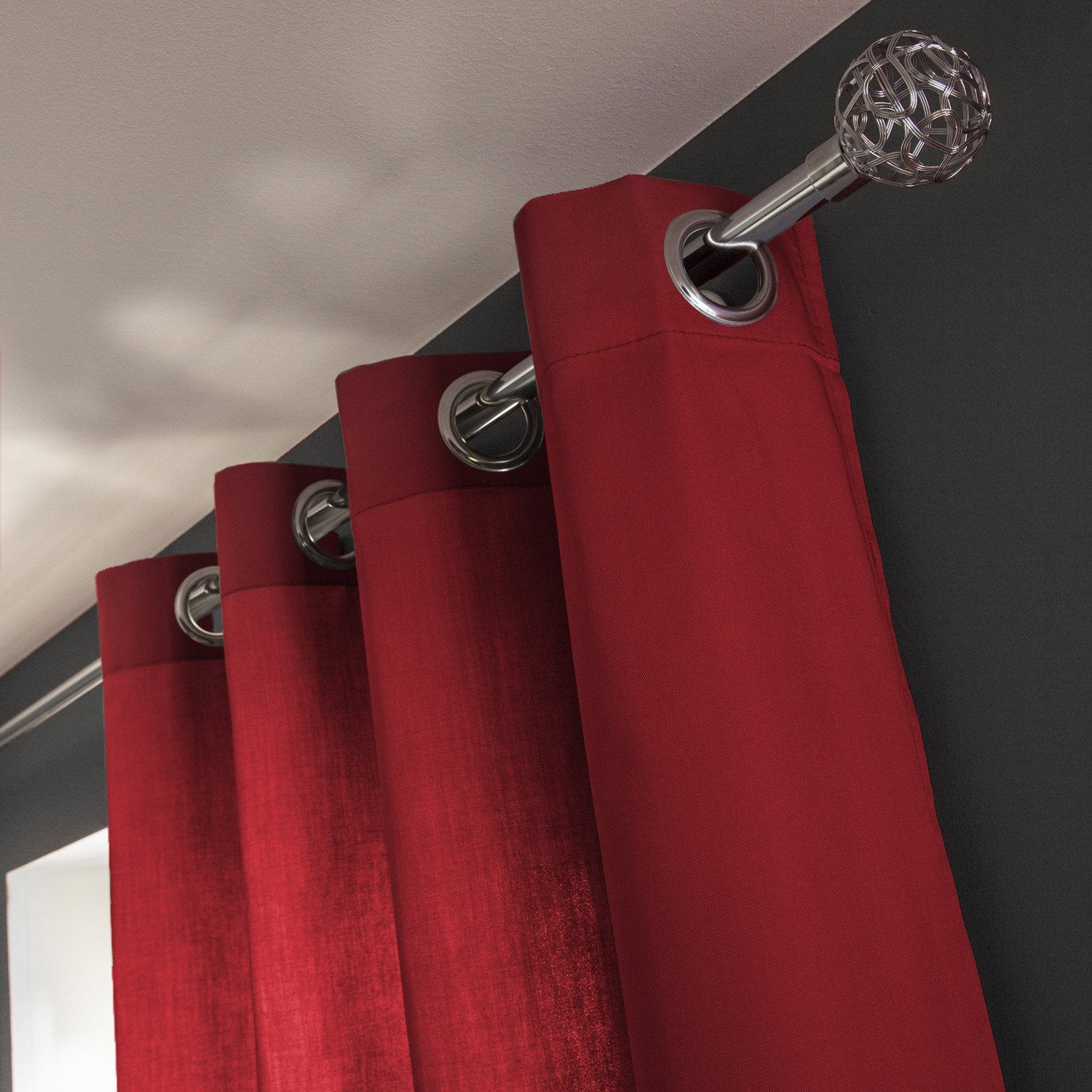 Rideau roma rouge rouge n 3 x cm inspire for Leroy merlin roma laurentina roma