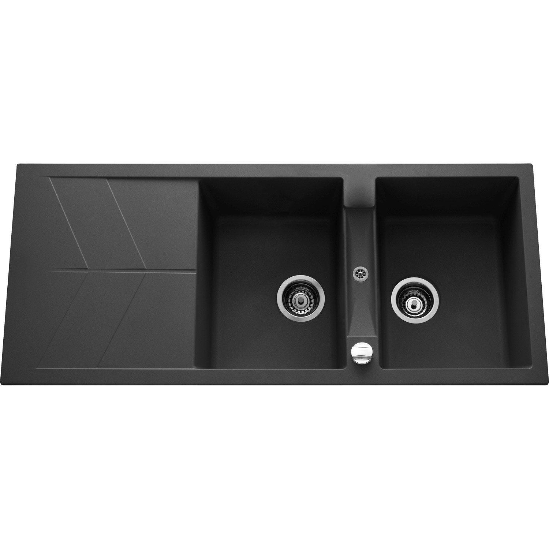 evier encastrer quartz et r sine noir calypso 2 bacs. Black Bedroom Furniture Sets. Home Design Ideas
