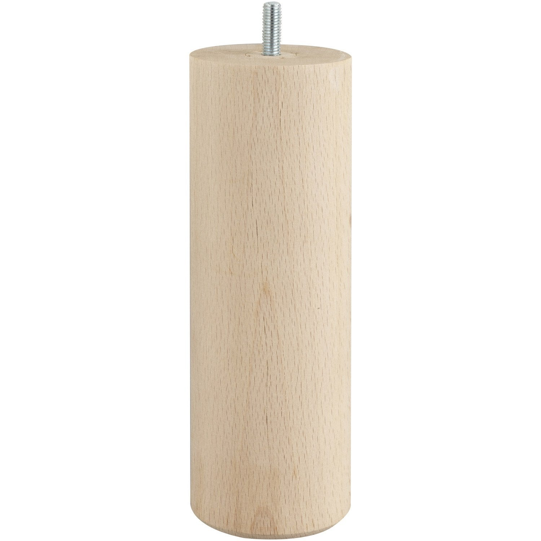 pied de lit sommier cylindrique fixe h tre brut blanc beige naturels 20cm leroy merlin. Black Bedroom Furniture Sets. Home Design Ideas