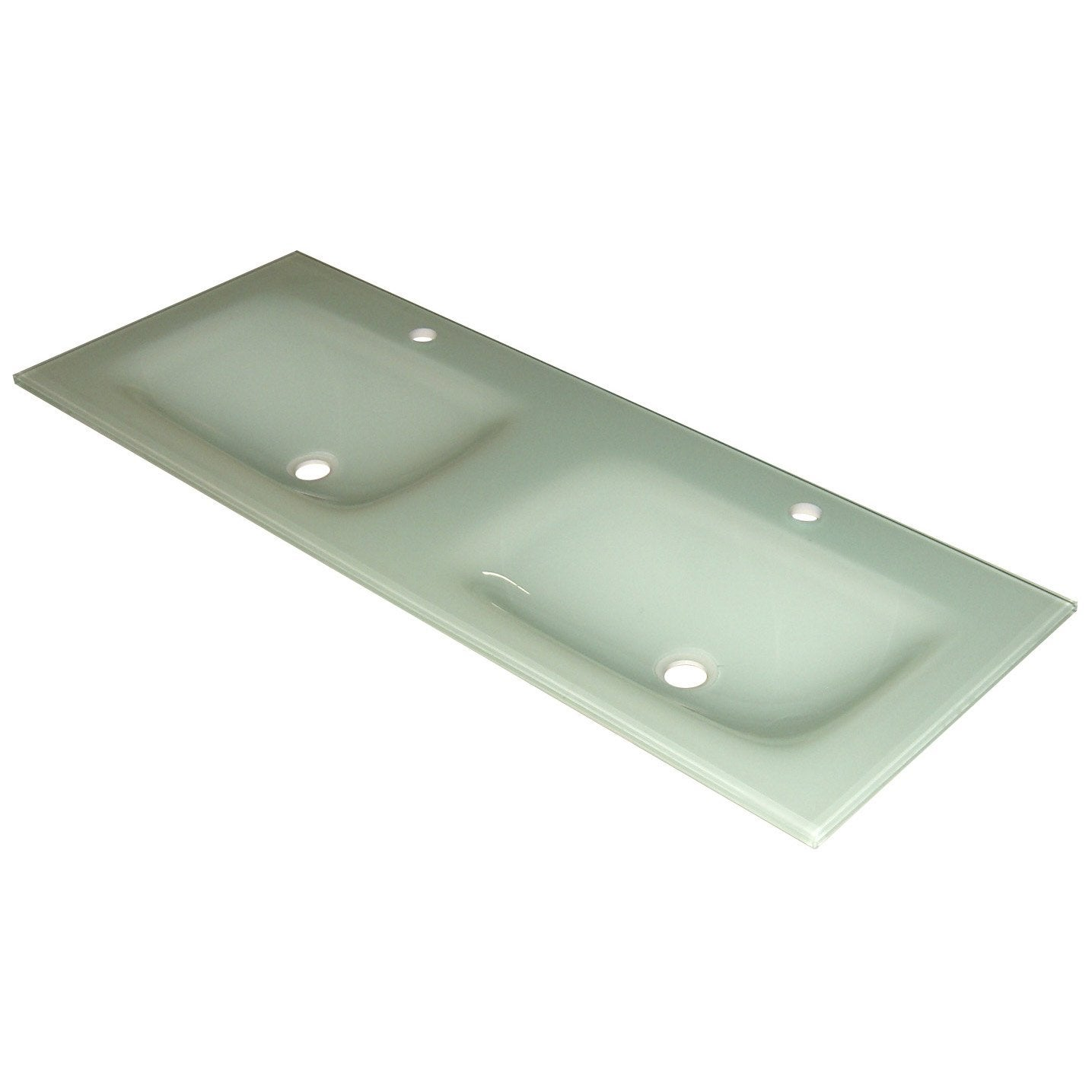 Plan double vasques fjord verre blanc l120xl12xp45 5 cm leroy merlin - Verre trempe leroy merlin ...