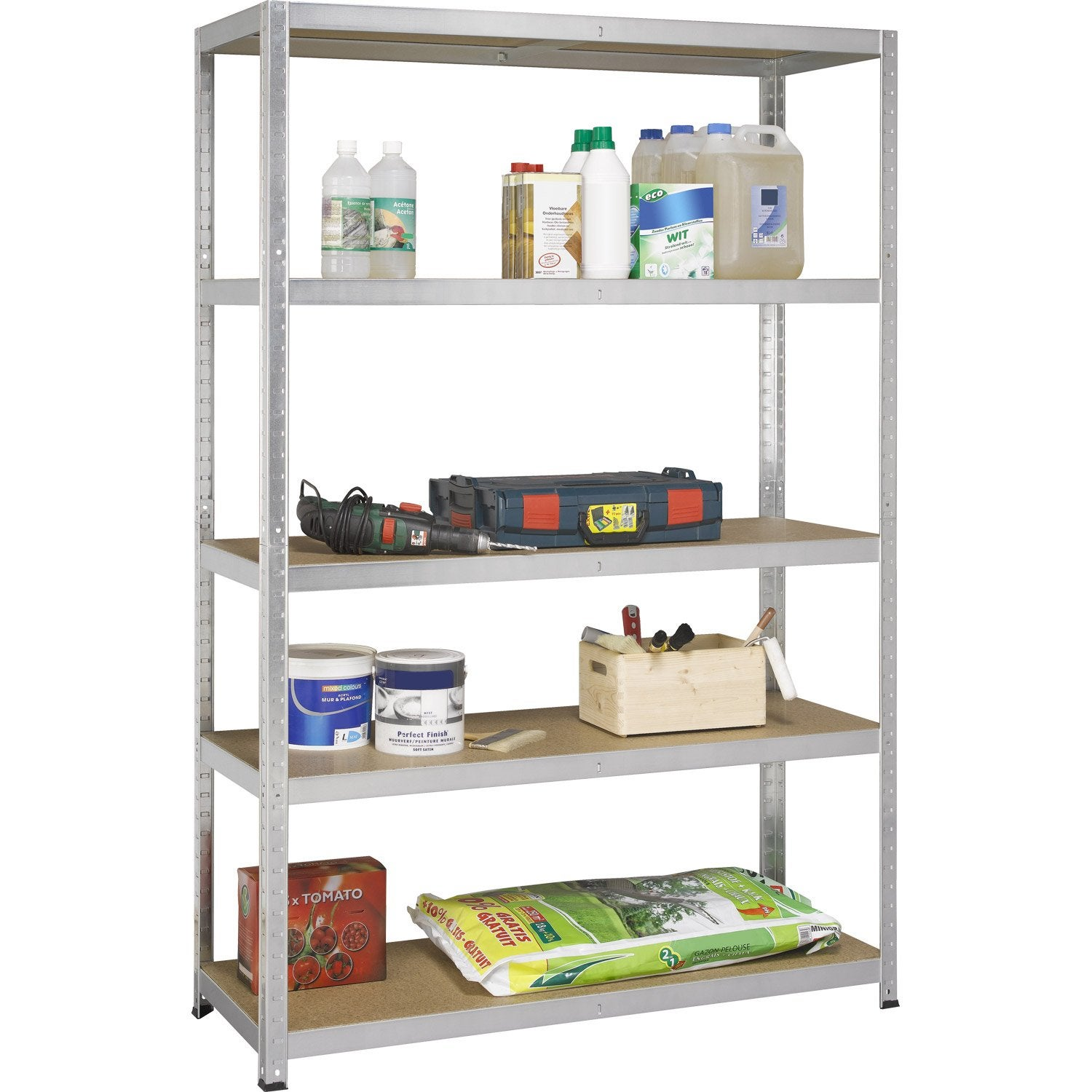 Etag re acier avasco strong 5 tablettes gris x x cm lero - Etagere garage leroy merlin ...