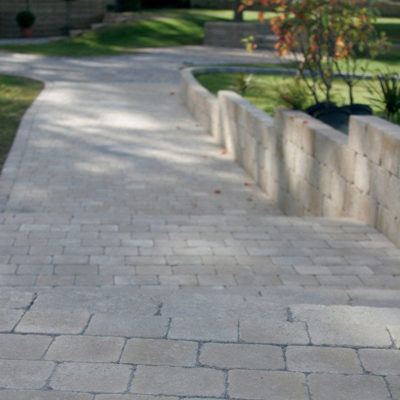 Pav tarnis en b ton jaune ton pierre 12x17 5 15x15 p 60 mm leroy merlin - Beton decoratif exterieur leroy merlin ...