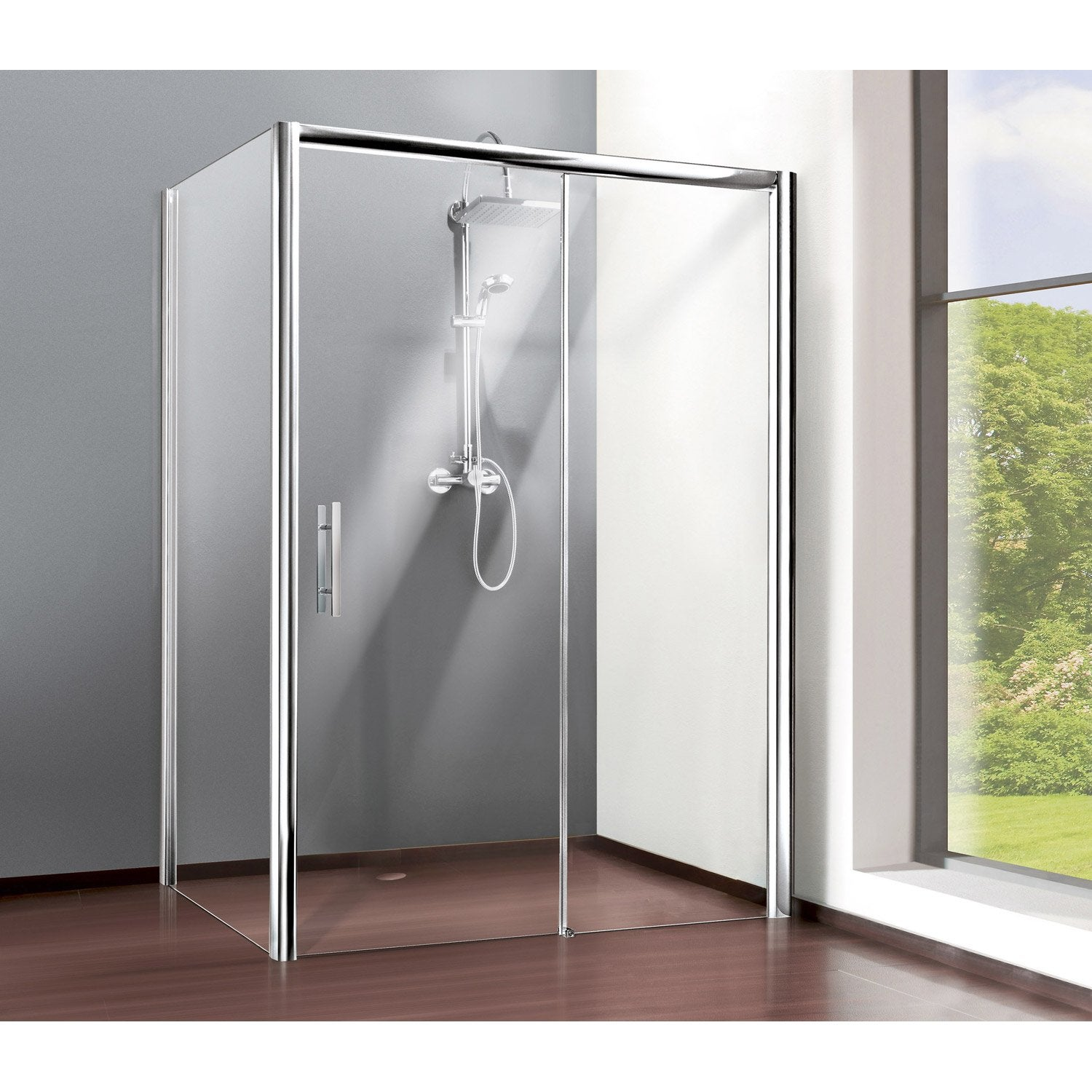 Porte de douche coulissante 97 101 cm profil chrom for Leroy merlin porte douche
