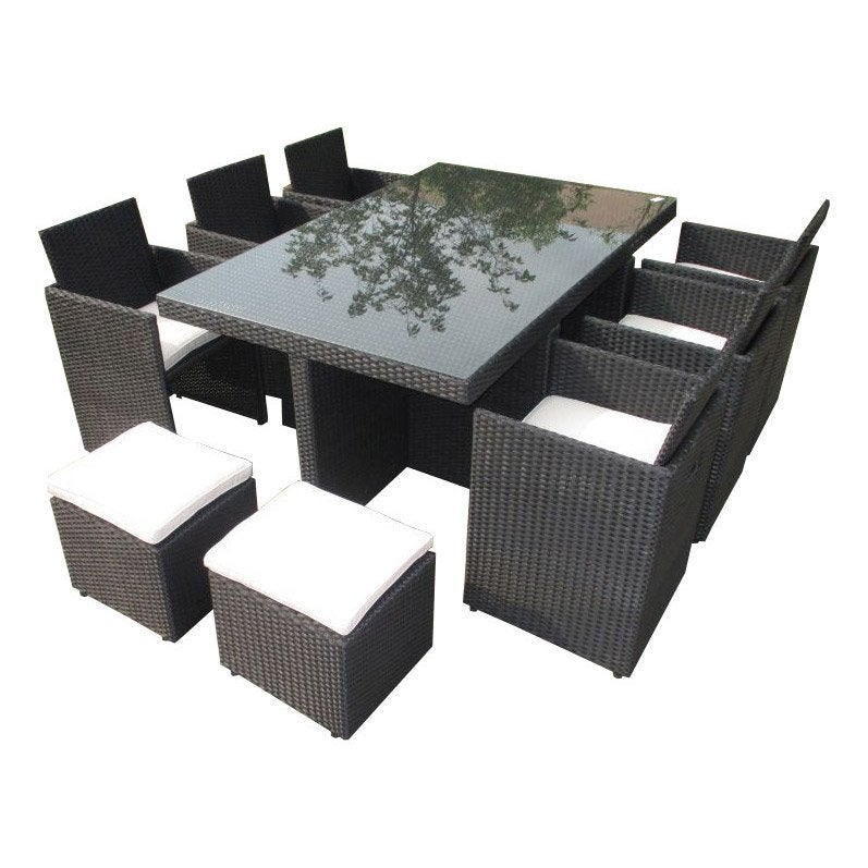 Salon de jardin encastrable r sine tress e noir 10 - Table de jardin en resine tressee ...