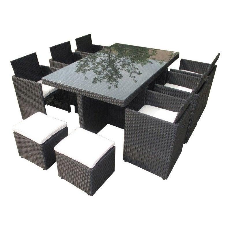Salon de jardin Encastrable résine tressée noir table + 6 fauteuils