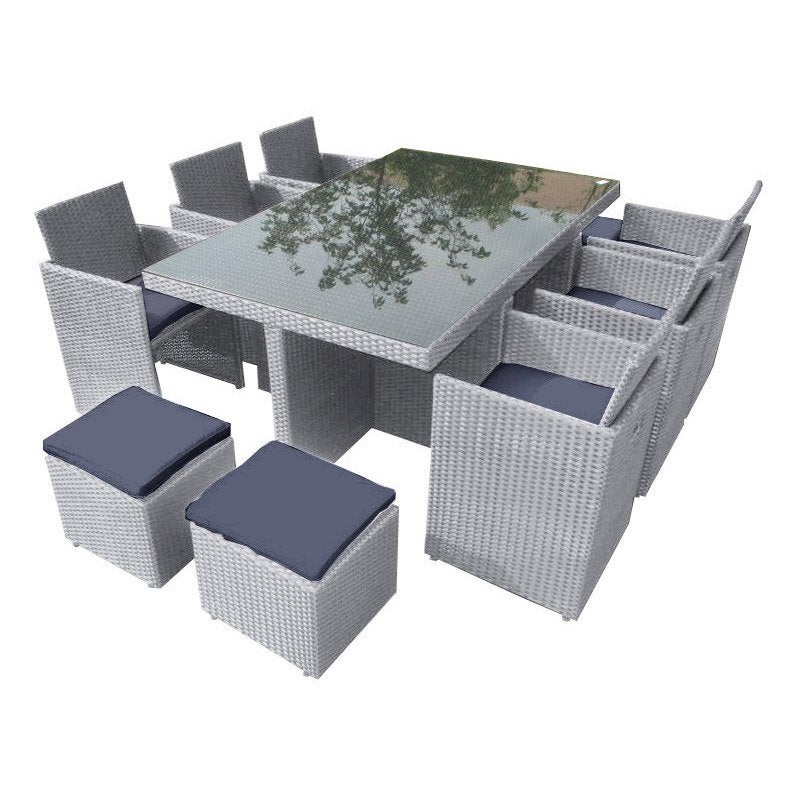 Salon De Jardin Encastrable R Sine Tress E Gris 1 Table 6 Fauteuils 4 Poufs Leroy Merlin