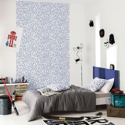 papier peint art man bleu intiss street art leroy merlin. Black Bedroom Furniture Sets. Home Design Ideas