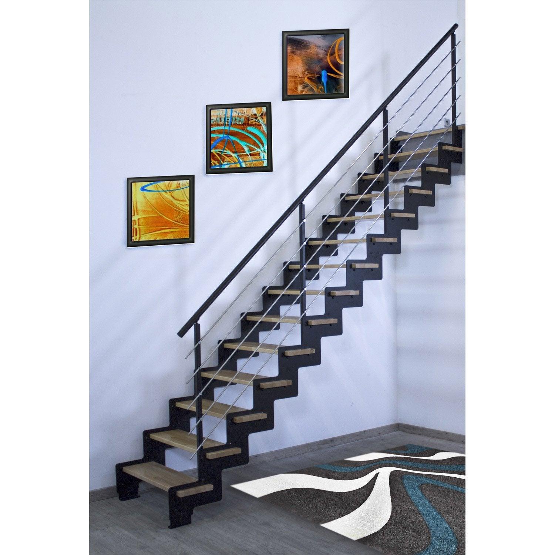 Escalier droit cr maill re structure acier marche bois lamell coll about - Marche pied leroy merlin ...