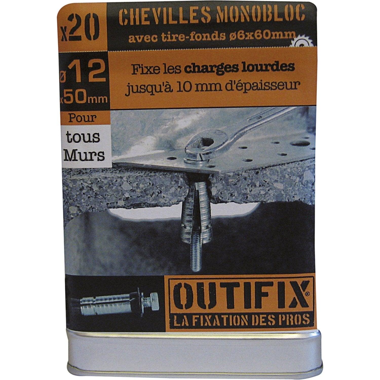 Lot de 20 chevilles vis expansion g2x outifix x mm leroy merlin - Cheville pour parpaing creux ...
