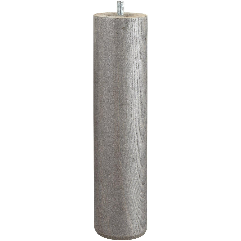 pied de lit sommier cylindrique fixe en pin teint gris. Black Bedroom Furniture Sets. Home Design Ideas