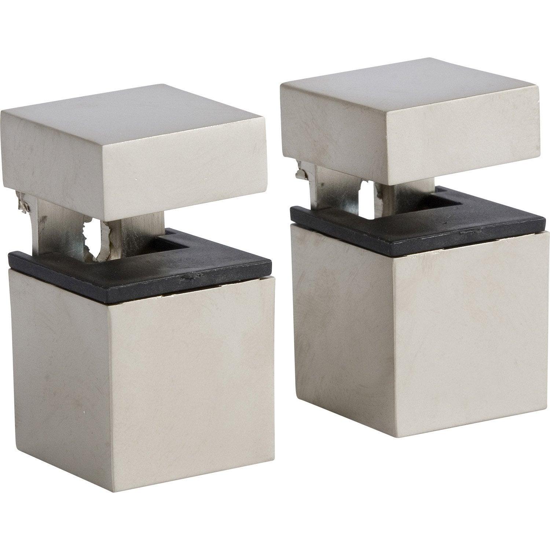 Lot De 2 équerres Pince Cube Acier Nickelé Gris H45 X P3