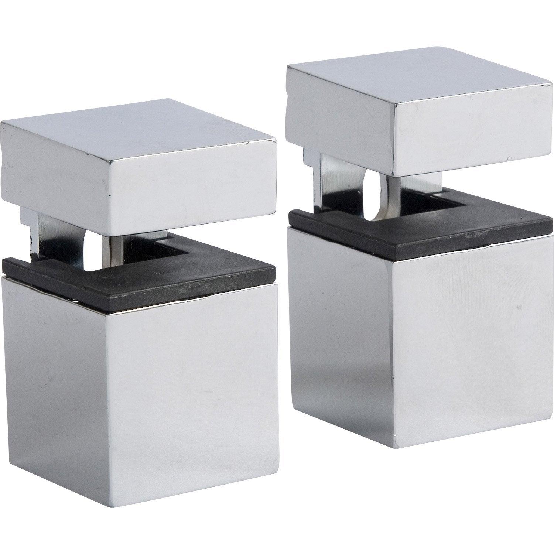 lot de 2 querres pince cube acier chrom gris h 4 5 x p 3 cm leroy merlin. Black Bedroom Furniture Sets. Home Design Ideas