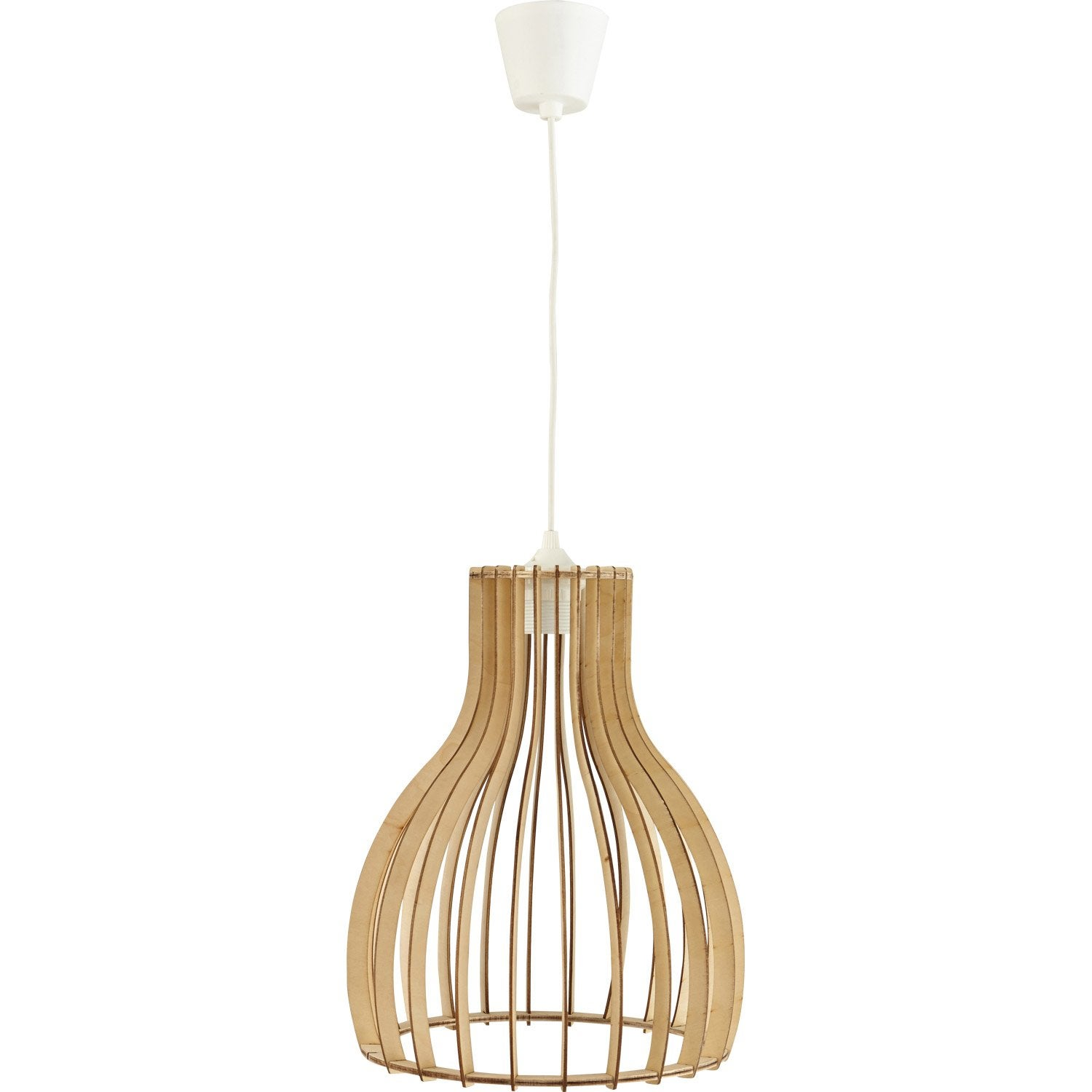 Suspension nature helsinki bois bois naturel 1 x 60 w for Suspension bois