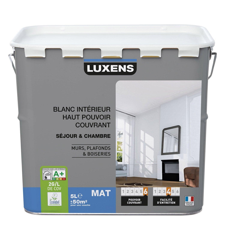 Peinture blanche mur plafond et boiserie haut pouvoir couvrant luxens mat 5 - Sikkens prix peinture ...