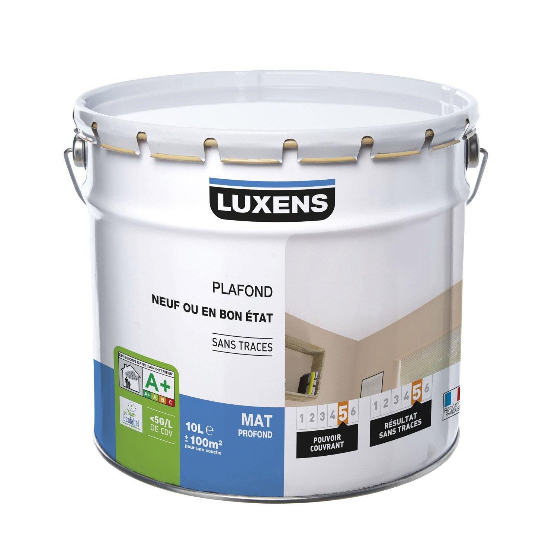 Peinture blanche plafond neuf ou bon tat luxens mat profond 10 l leroy merlin - Peinture plafond mat ou satin ...