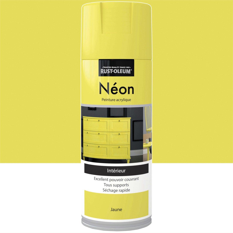 Peinture a rosol n on fluorescent rustoleum jaune 0 4 l for Plafoniera neon leroy merlin