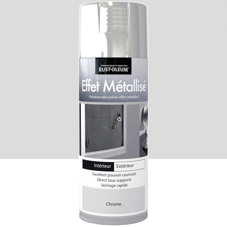 Peinture a rosol effet metallis m tallis rustoleum for Peinture chrome effet miroir