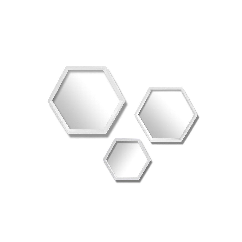 lot de 3 miroirs hexagonaux blanc x cm leroy. Black Bedroom Furniture Sets. Home Design Ideas
