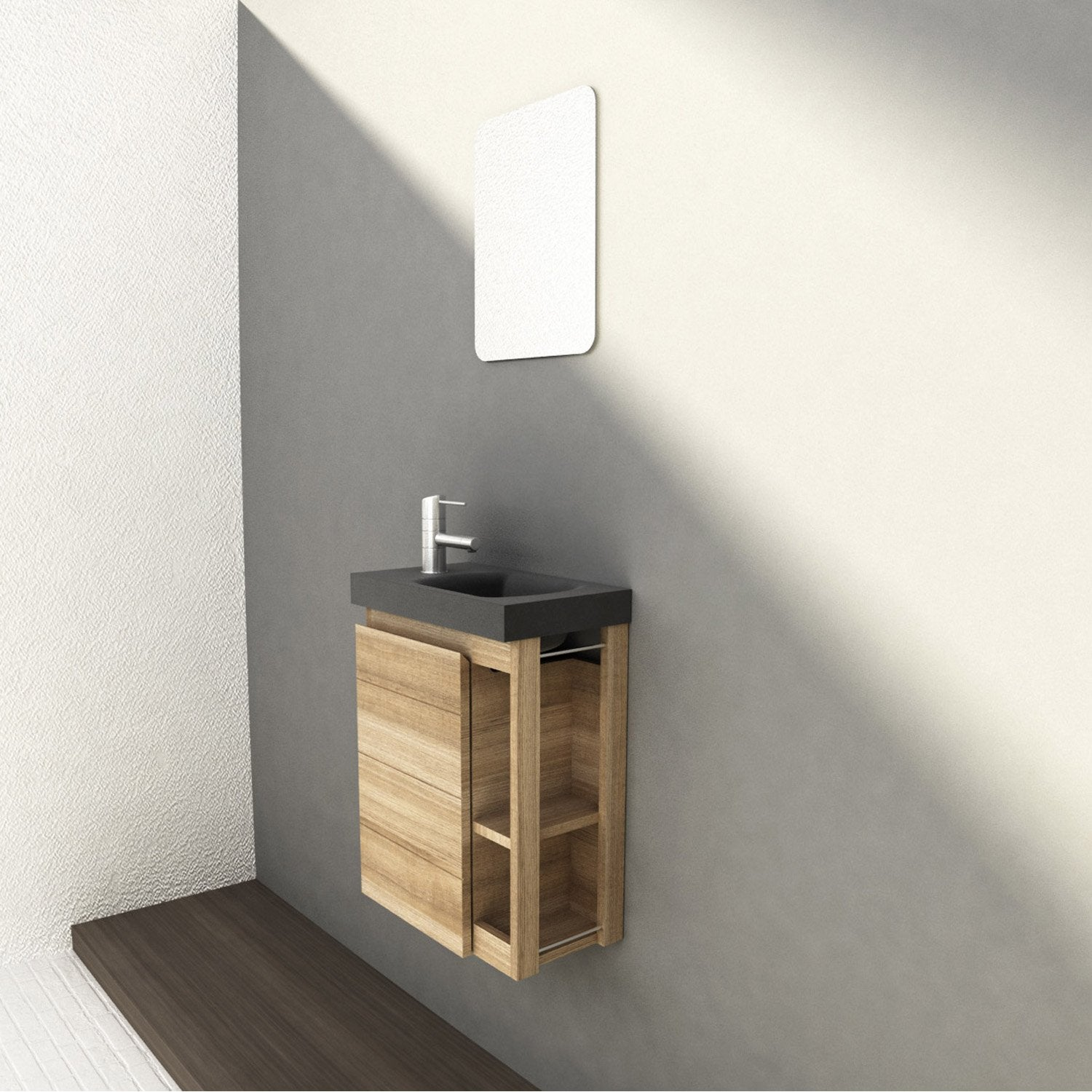 Meuble lave mains avec miroir fairway leroy merlin for Miroir wc design