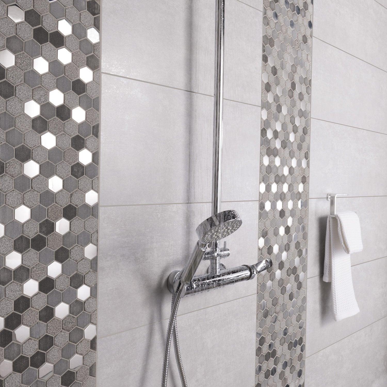 Mosa que mur graphik hexa inox gris leroy merlin - Frise murale carrelage salle de bain ...