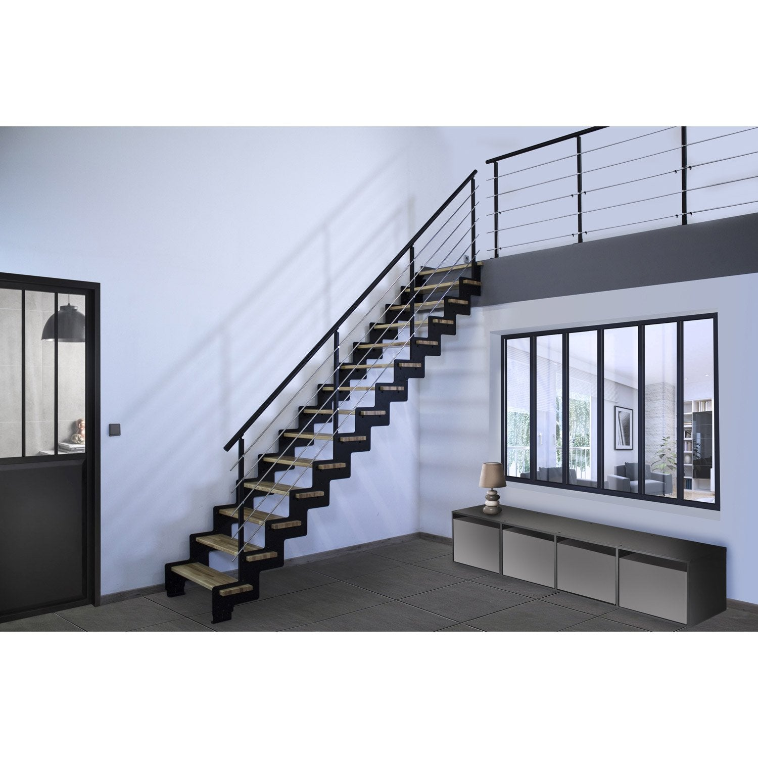 escalier droit sapin fashion designs. Black Bedroom Furniture Sets. Home Design Ideas