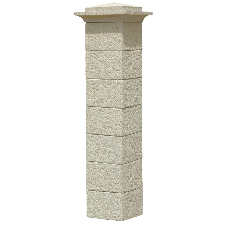 pilier complet pierre reconstitu e d coratif x. Black Bedroom Furniture Sets. Home Design Ideas