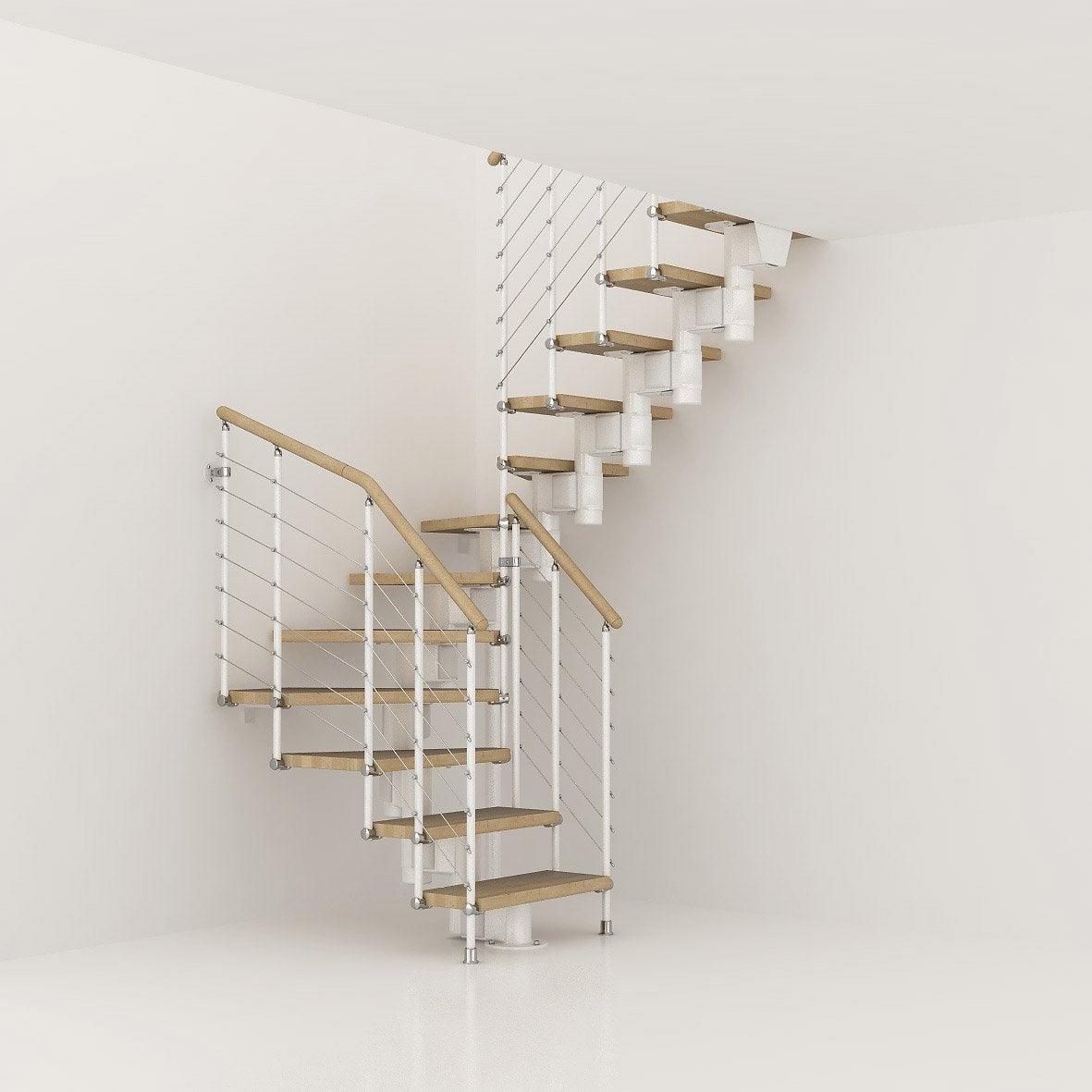 Escalier long line pixima modulaire en bois et m tal 12 - Marche escalier leroy merlin ...