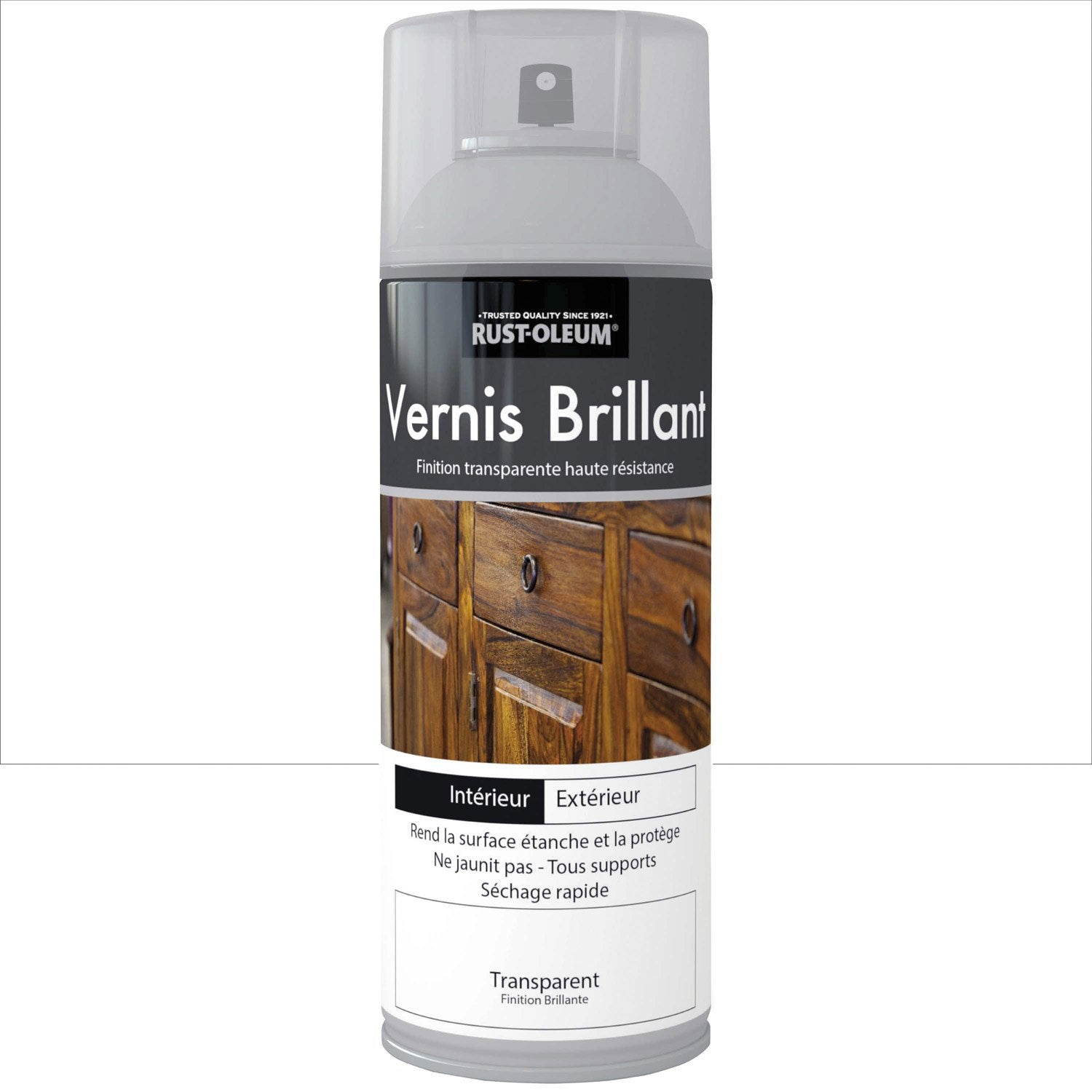 vernis en bombe a rosol brillant rustoleum incolore 0 4 l leroy merlin. Black Bedroom Furniture Sets. Home Design Ideas