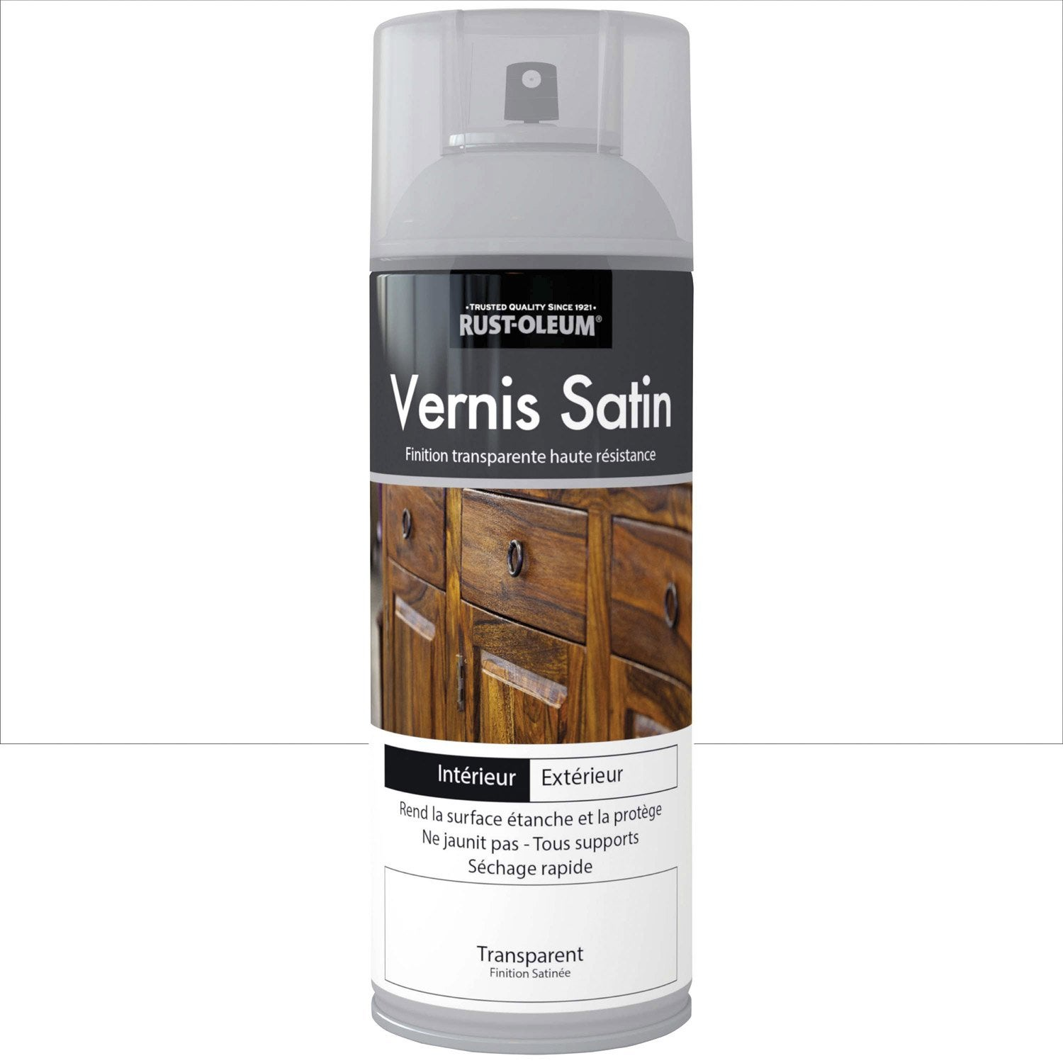 vernis en bombe a rosol satin rustoleum incolore 0 4 l. Black Bedroom Furniture Sets. Home Design Ideas