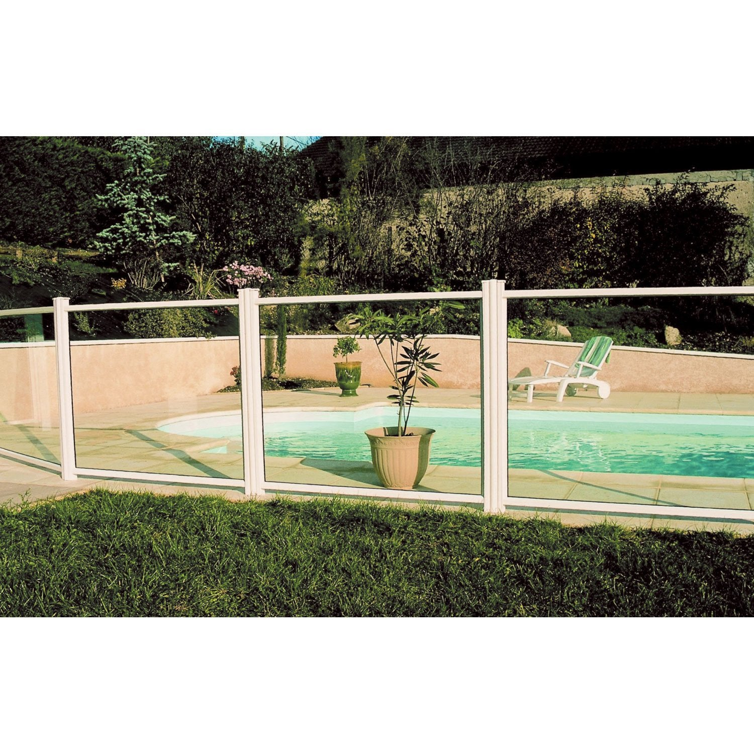 Barri re pour piscine aluminium esterel blanc 9010 for Barriere piscine leroy merlin