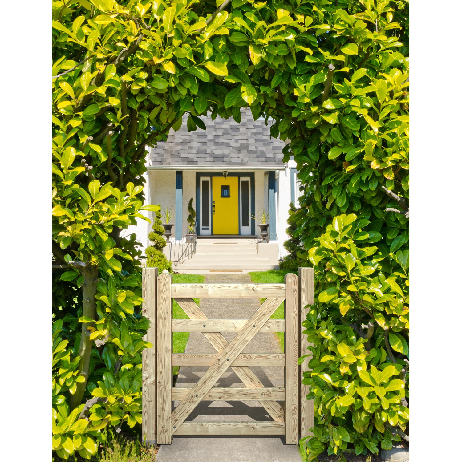 Portillon bois anglaise naturel x cm leroy for Portillon en bois de jardin