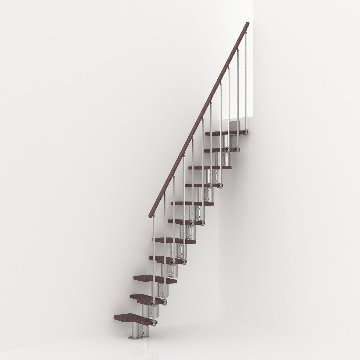 Escalier droit mini bois m tal chrom leroy merlin - Escalier droit metal ...