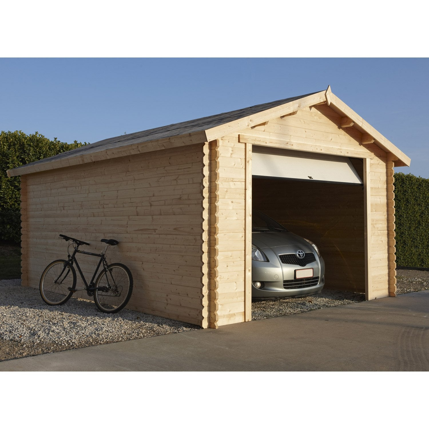 Garage bois nova 1 voiture m leroy merlin for Avis porte de garage sectionnelle leroy merlin