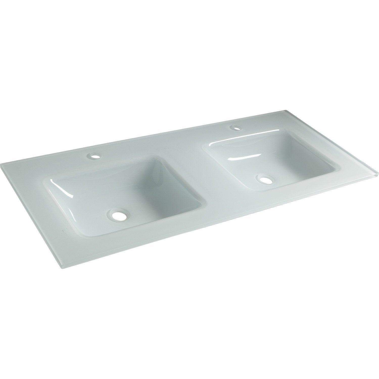 Plan double vasques sensea n o verre recuit blanc cm lero - Vasques leroy merlin ...