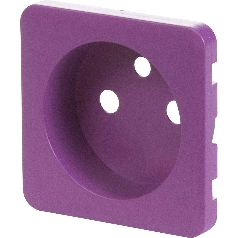 cache pour prise avec terre lexman violet tulipe n 3 leroy merlin. Black Bedroom Furniture Sets. Home Design Ideas