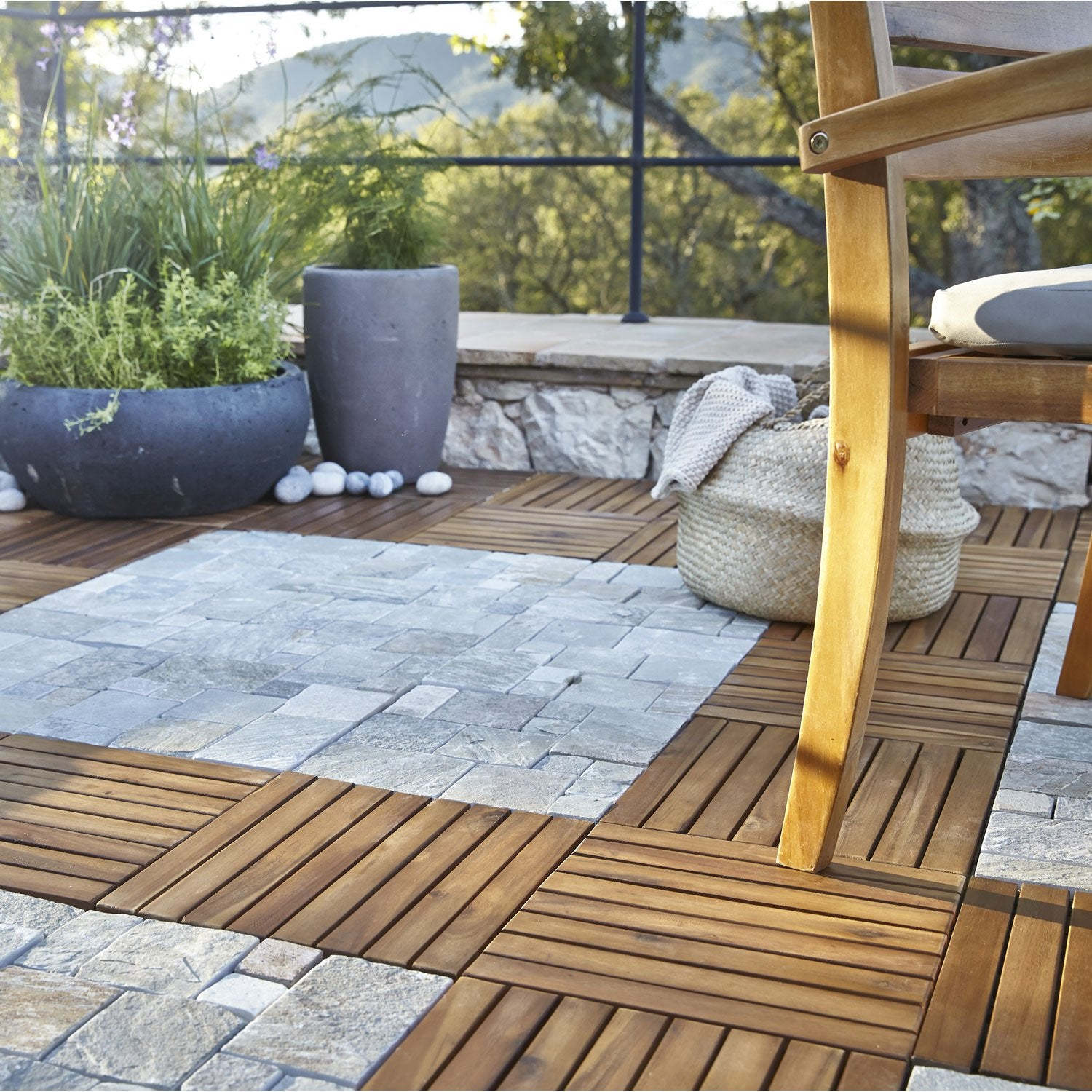 Dalle clipsable bois marron naturel x cm x mm leroy merlin - Dalle terrasse composite 50x50 ...