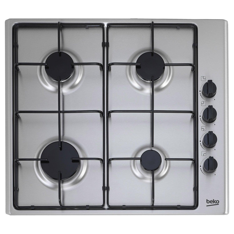 plaque de cuisson gaz 4 foyers inox beko hizg64120sx leroy merlin. Black Bedroom Furniture Sets. Home Design Ideas